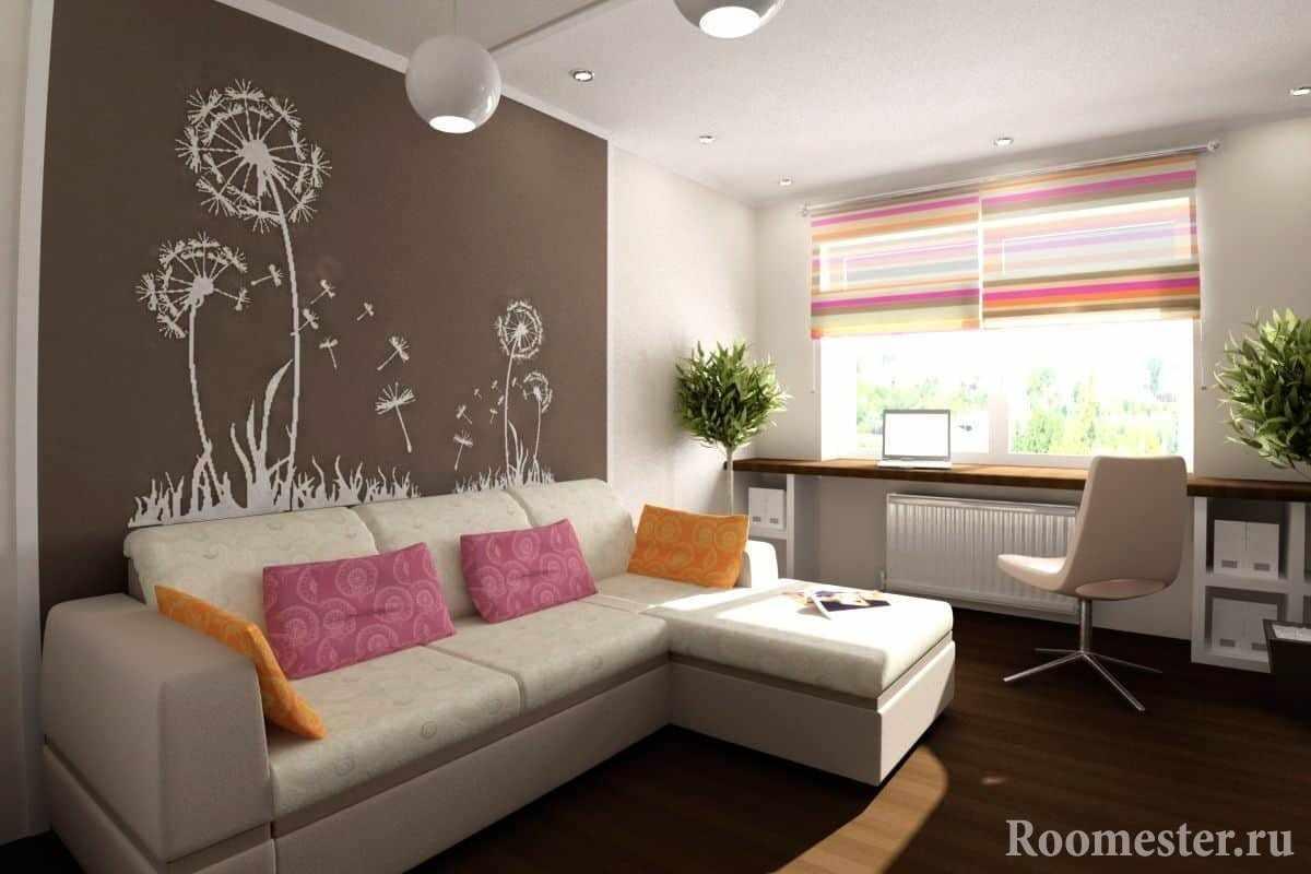 Угловой диван в комнате с рабочем местом