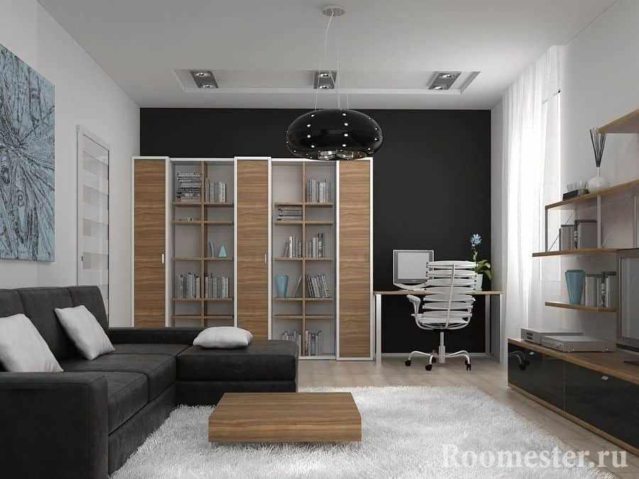 Выдвижной диван в спальне-гостиной