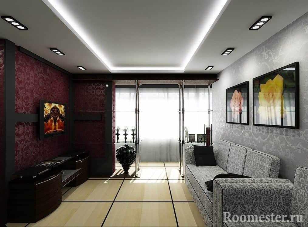 Раскладной диван в спальне-гостиной в стиле модерн