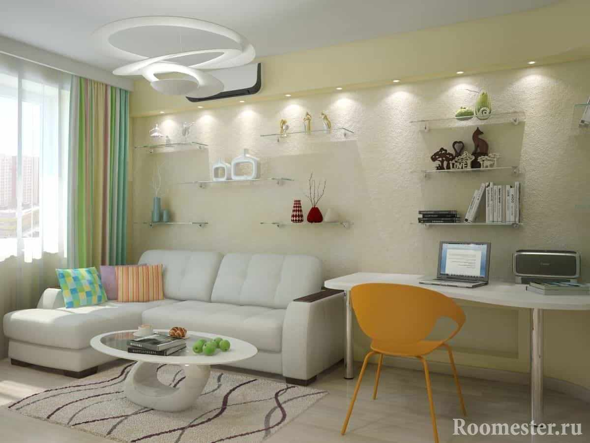 Белый угловой диван в комнате-спальне с рабочем местом