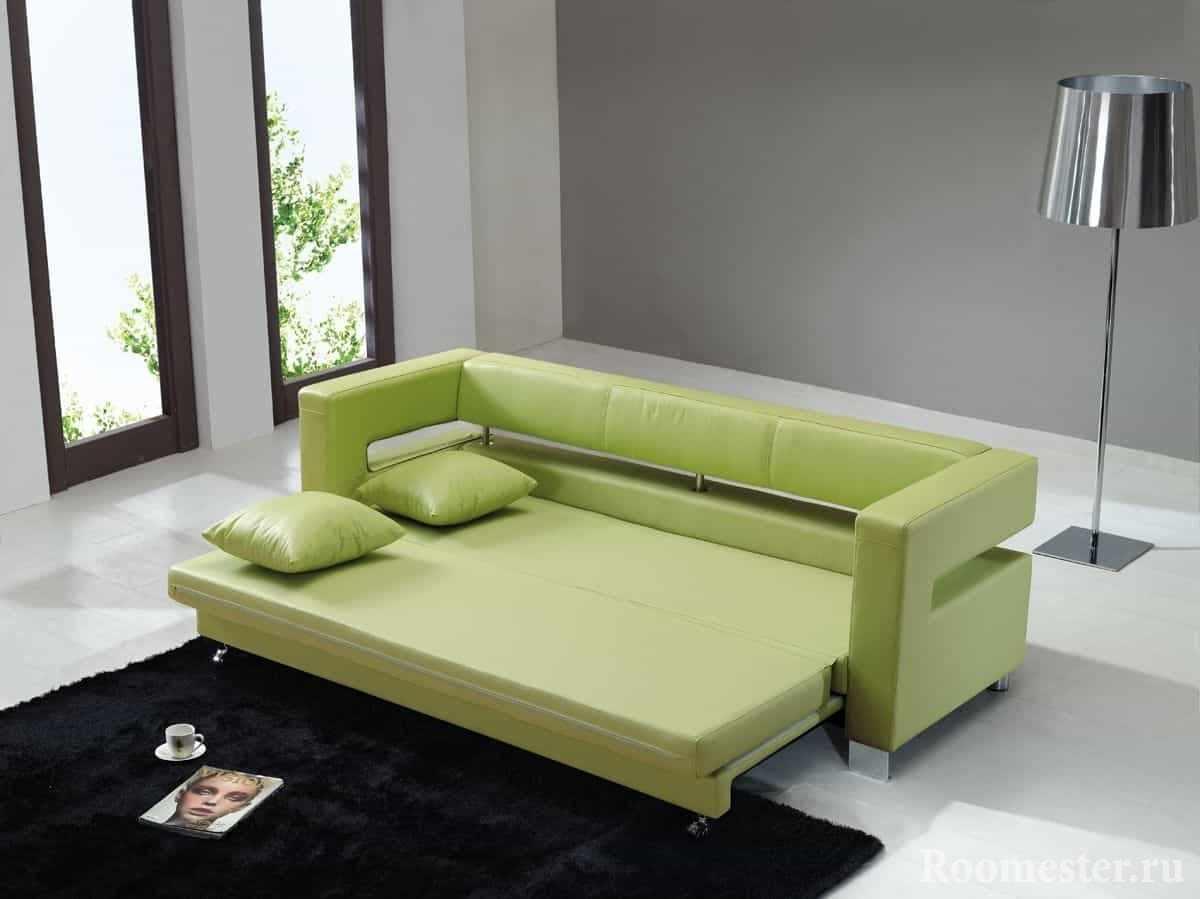 Выдвижной диван в зеленой эко-коже