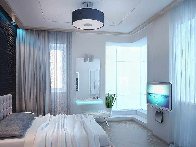 Оригинальность - одно из преимуществ спальни с двумя окнами