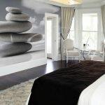 Серые фотообои в дизайне спальни