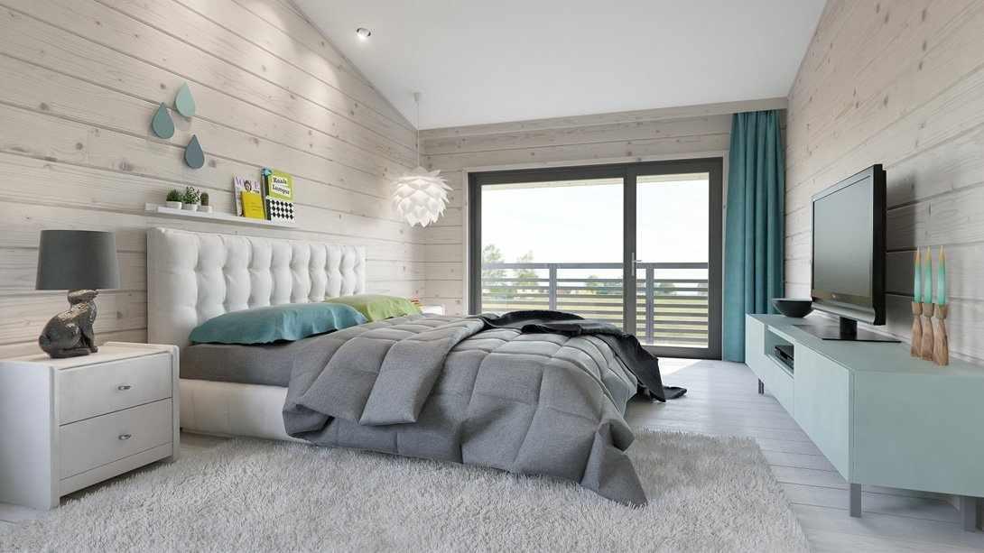 Светлые стены в спальне в частном доме