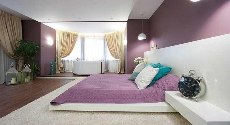Зонирование спальни в частном ломе