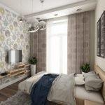 Горшки с цветами в углах спальни