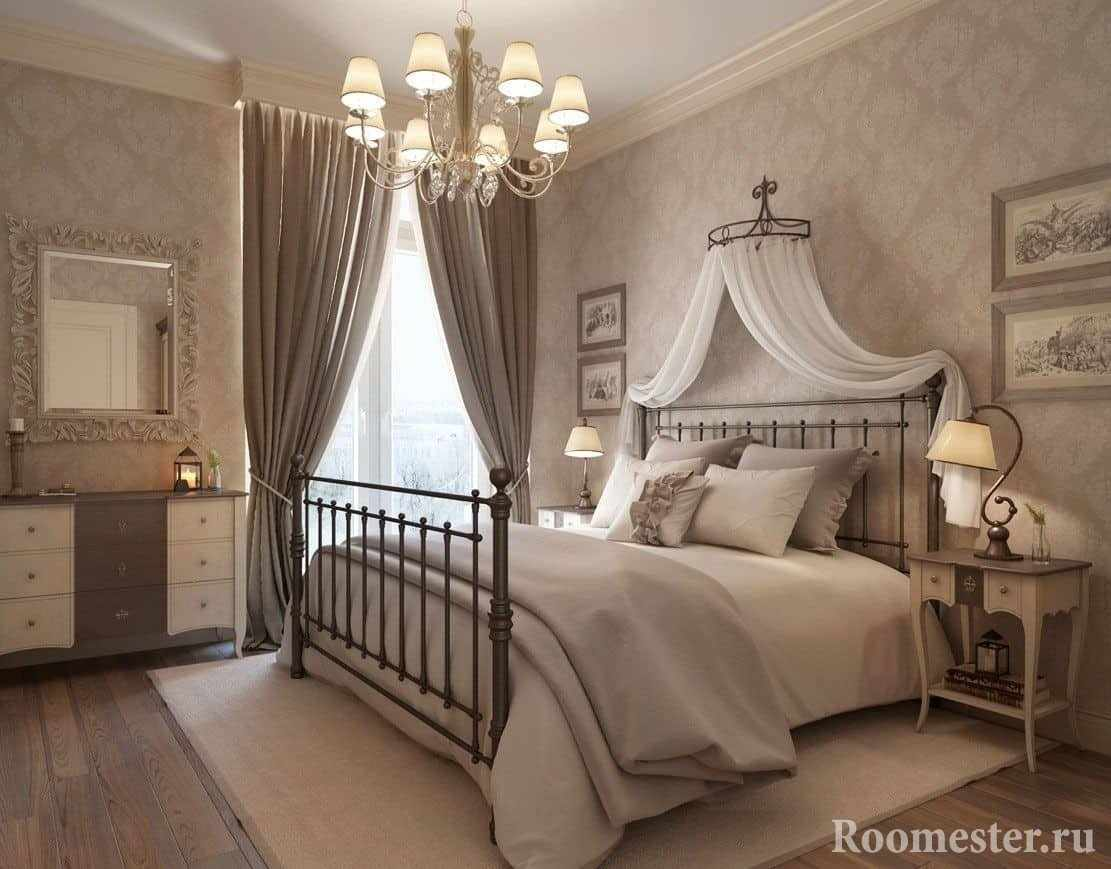 Романтичный дизайн спальни в классическом стиле
