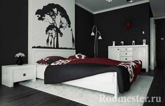 Черно-белое оформление спальни под классический стиль