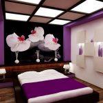 Красивые фотообои на стене спальни