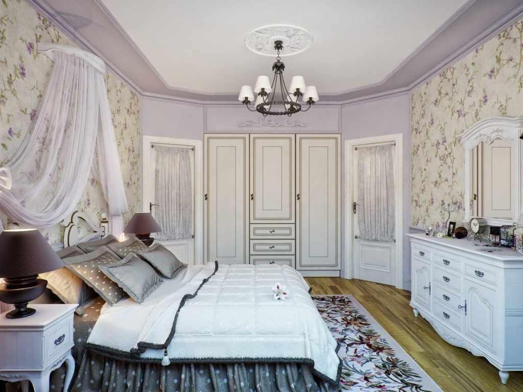 Сиреневая спальня в стиле прованс