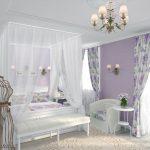 Люстра и светильники с одинаковым дизайном в спальне