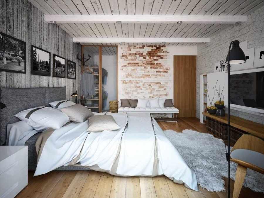 Потолок из досок в спальне в стиле лофт