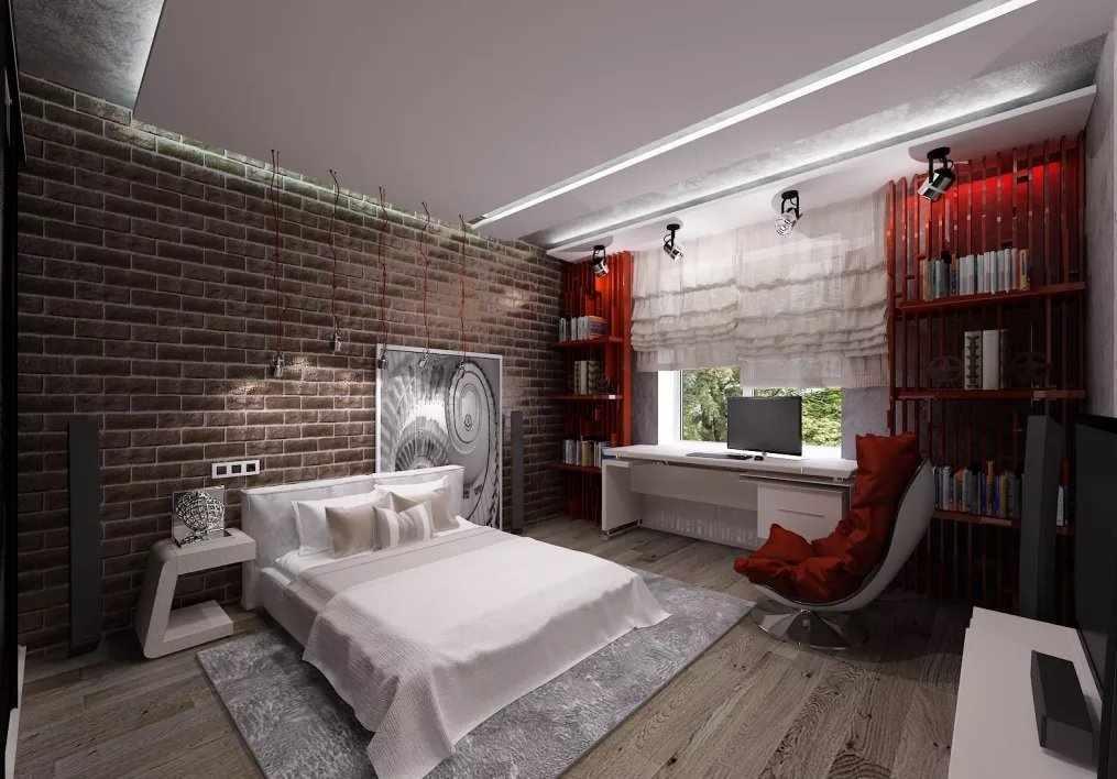 Спальня в стиле лофт для парня