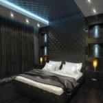 Интерьер спальни в темных тонах