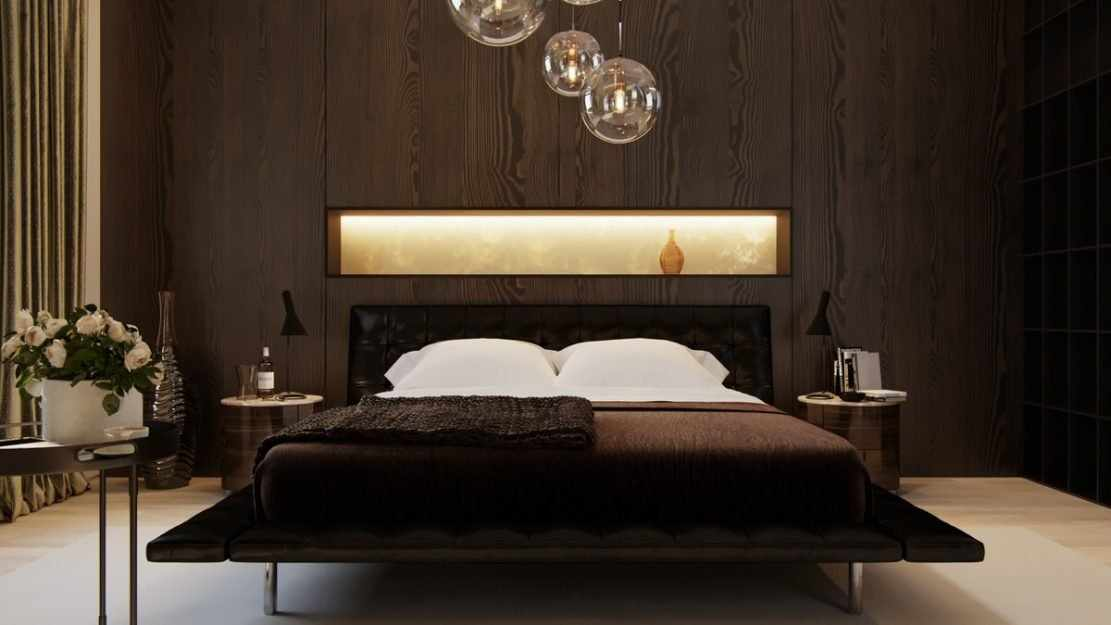 Освещение спальни в темных тонах