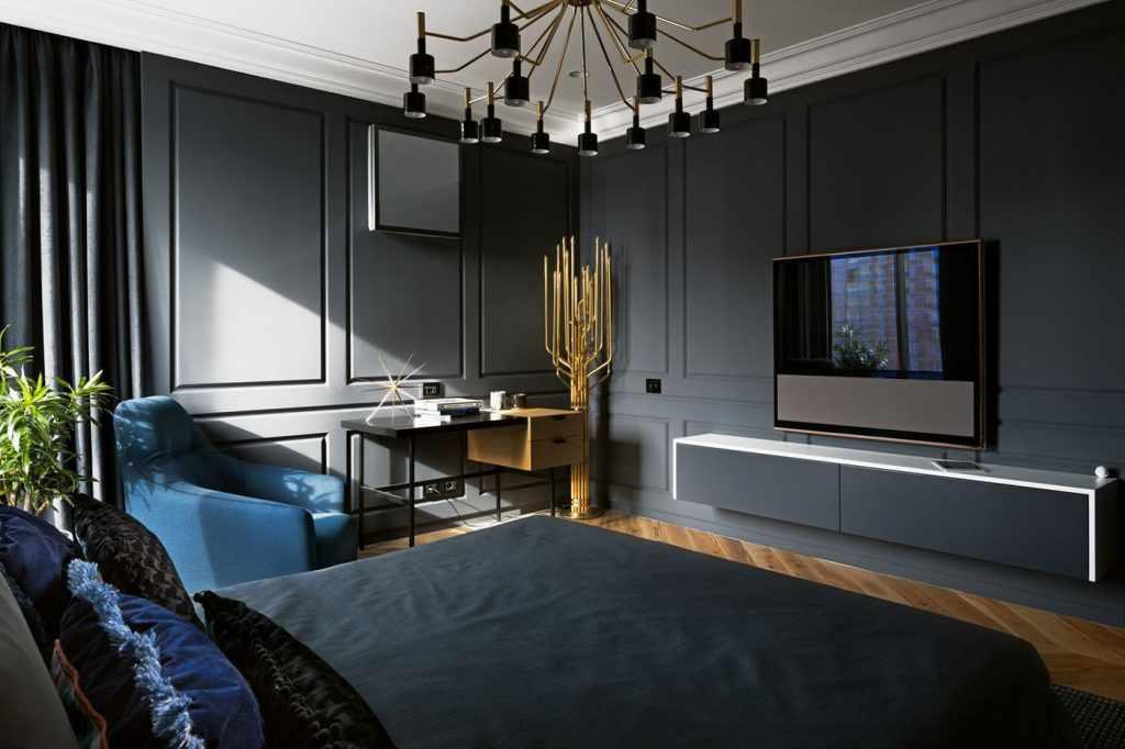 Декор в спальне в темных тонах