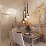 Пейзаж на стене у стола