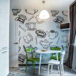 Белый столик и зеленые стулья