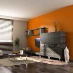 Оранжевый цвет в дизайне гостиной