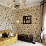 Гостиная в классическом стиле в коричневых тонах
