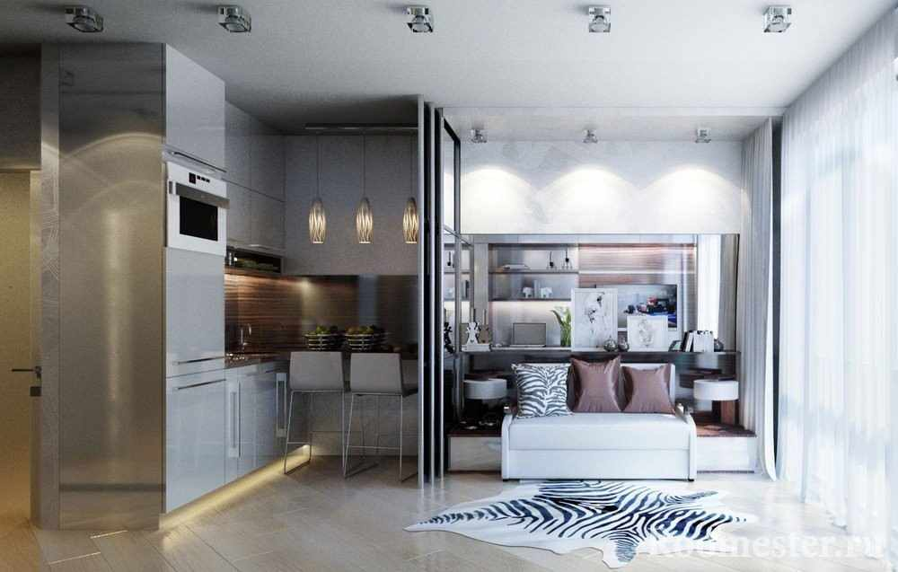 Спальня и кухня на 19-20 квадратах