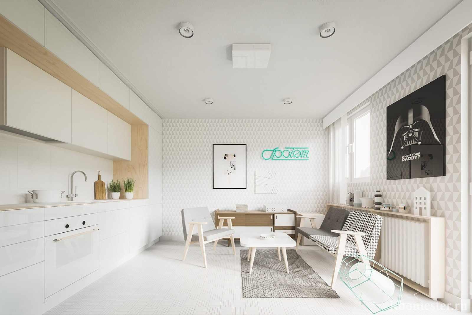 Квартира-студия с кухней вдоль стены
