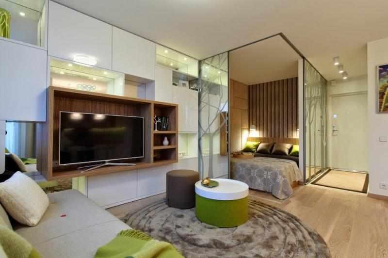 Спальня в студии 23 кв м