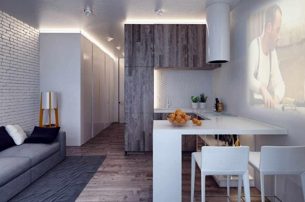 Мебель в интерьере студии 23 кв м