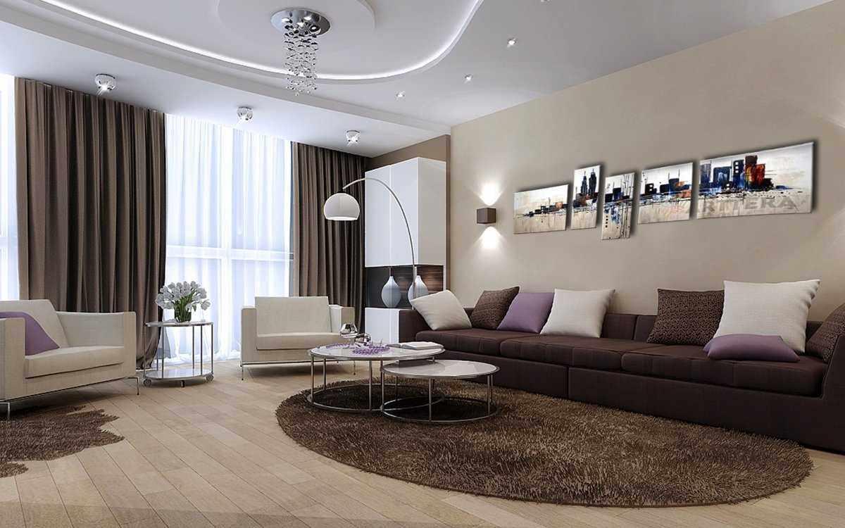 Коричневый дизайн в гостиной