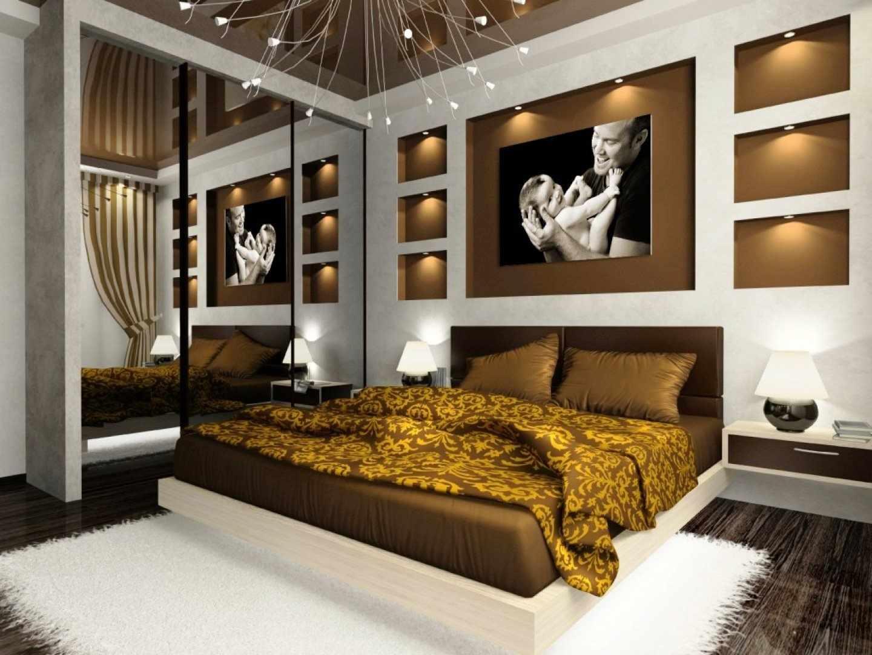 Белый и коричневый в дизайне спальни