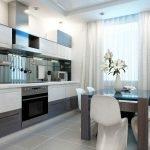 Белые шторы на кухне