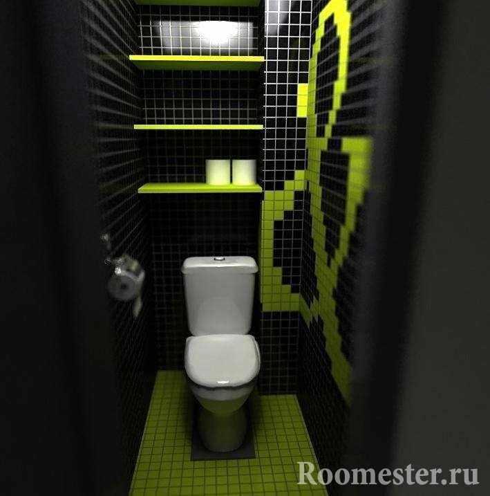Темный цвет сужает пространство маленького туалета