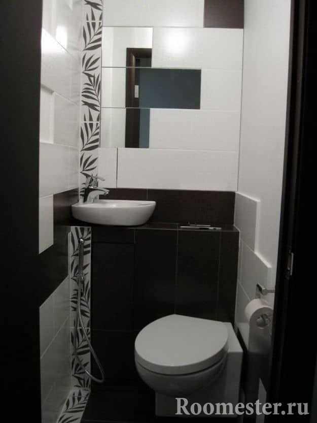Туалет в стиле Хай-тэк с гигиеническим душем