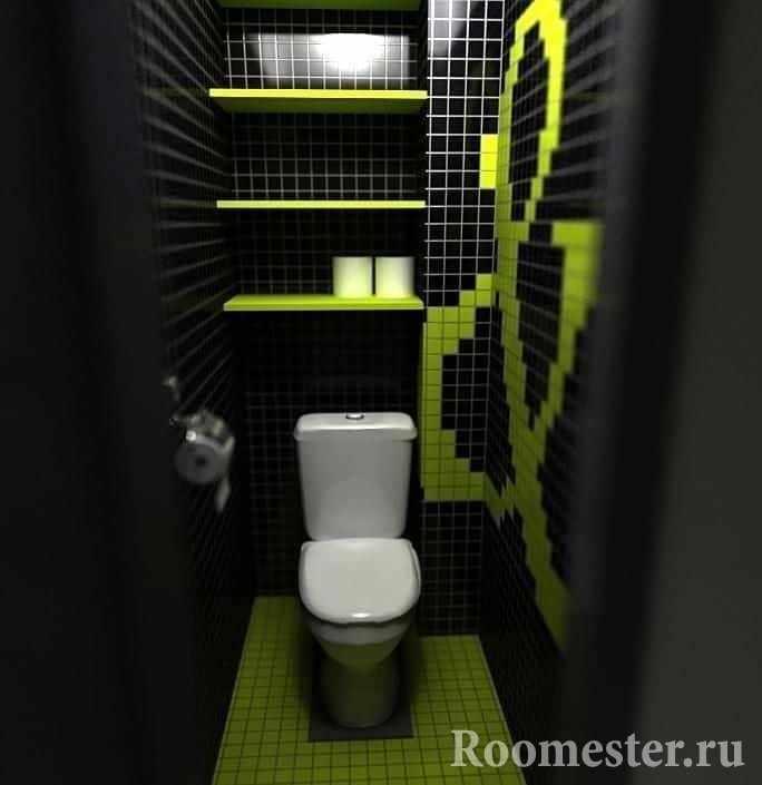 Маленький туалет в темном цвете с полками