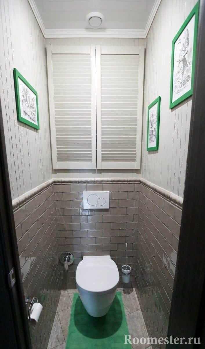 Дизайн небольшого туалета с нишей