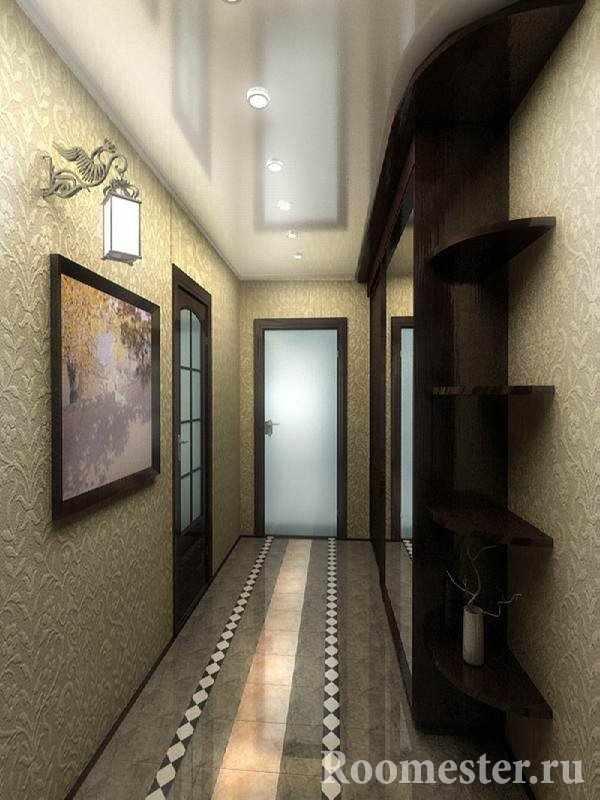 Натяжной потолок в узком коридоре