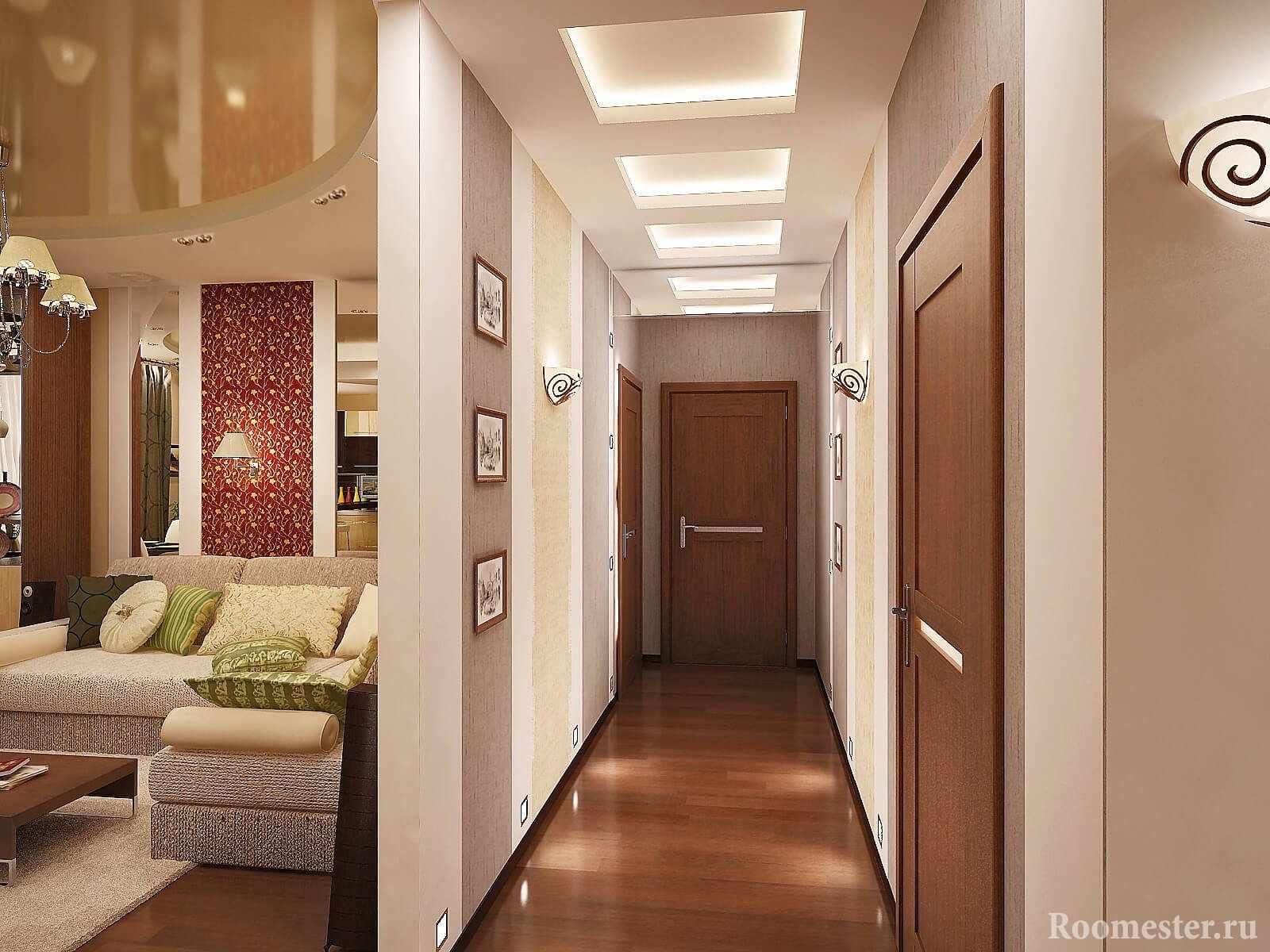 Длинный коридор совмещенный с гостиной