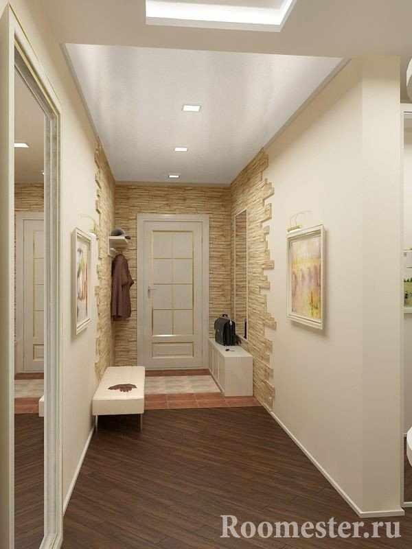 Узкий коридор с отделкой под натуральный камень
