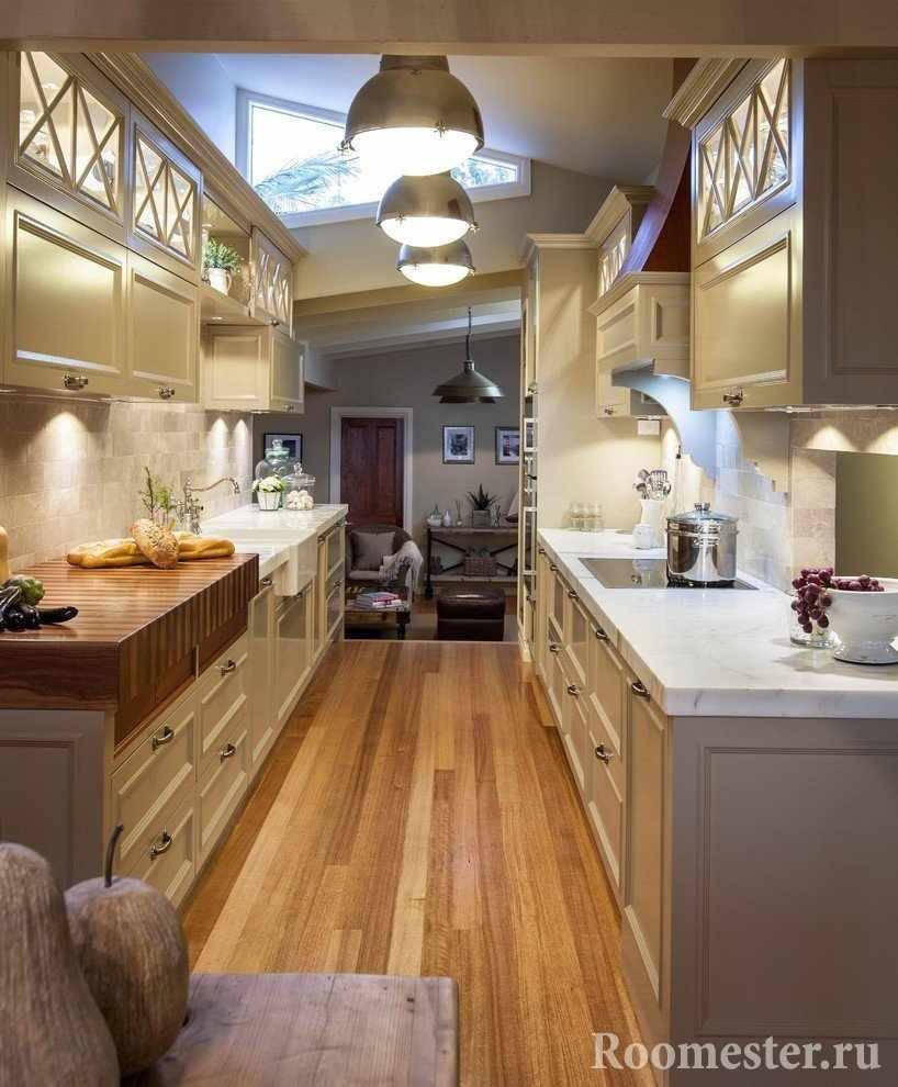 Кухня по противоположным стенам