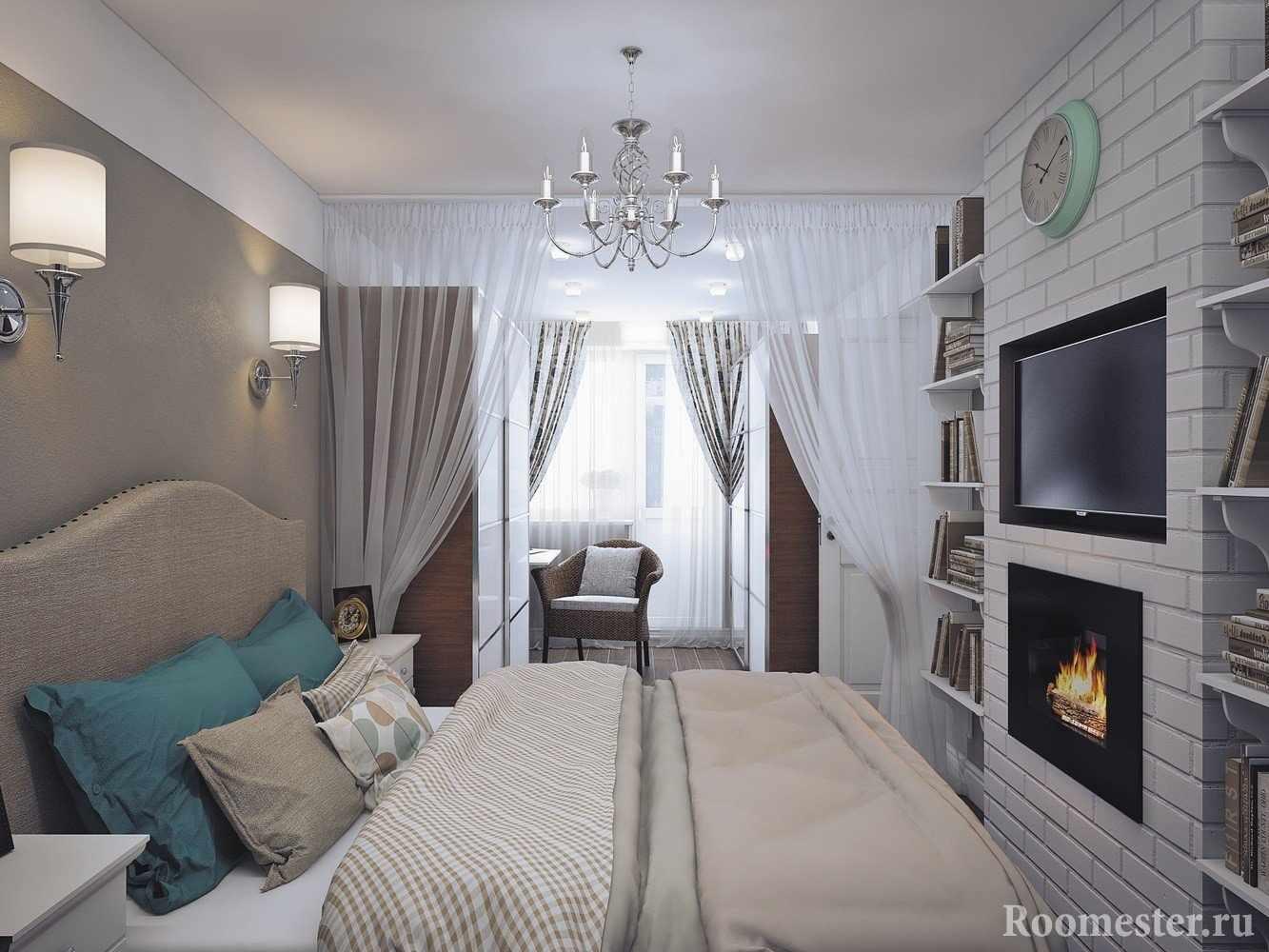Небольшая спальня с присоединенной лоджией