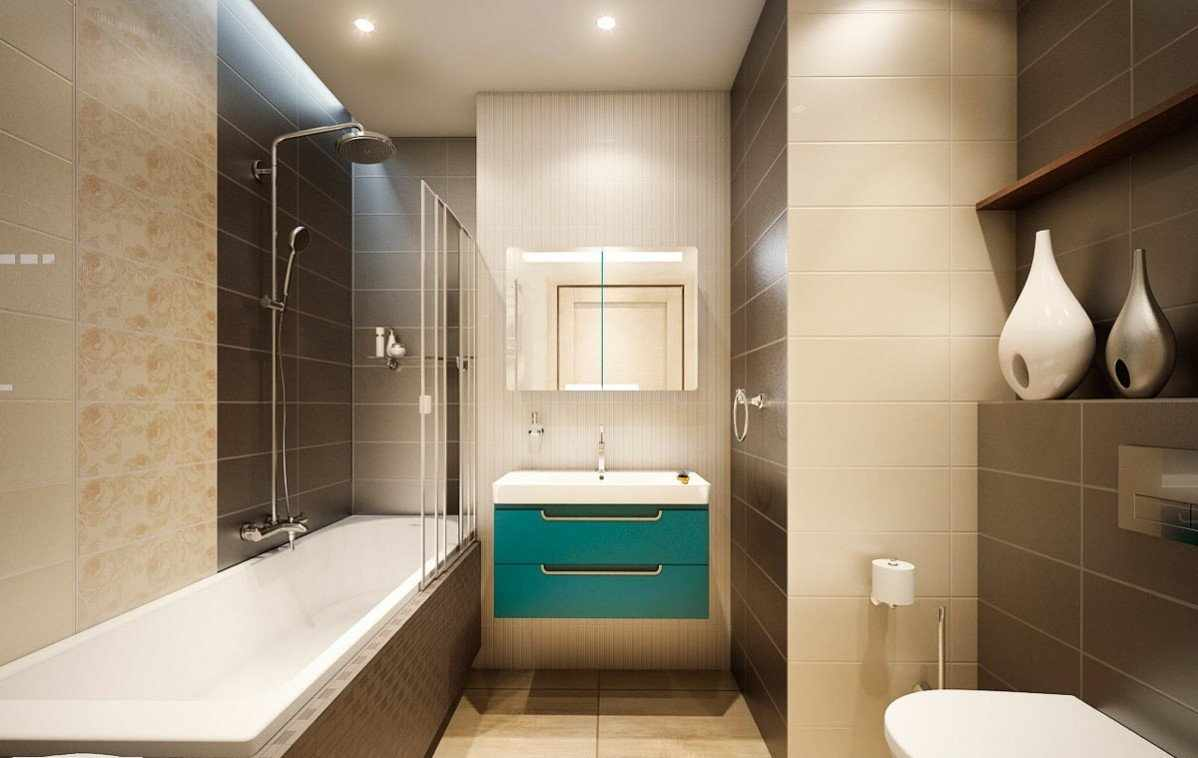 Кофейные оттенки в дизайне узкой ванной