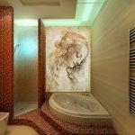 Декоративный элемент с подсветкой в дизайне ванной