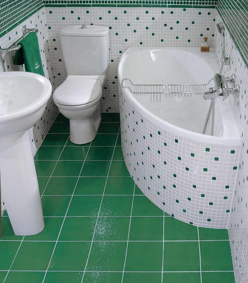 Зелено-белая ванная комната