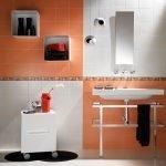 Оранжевая плитка в отделке ванной