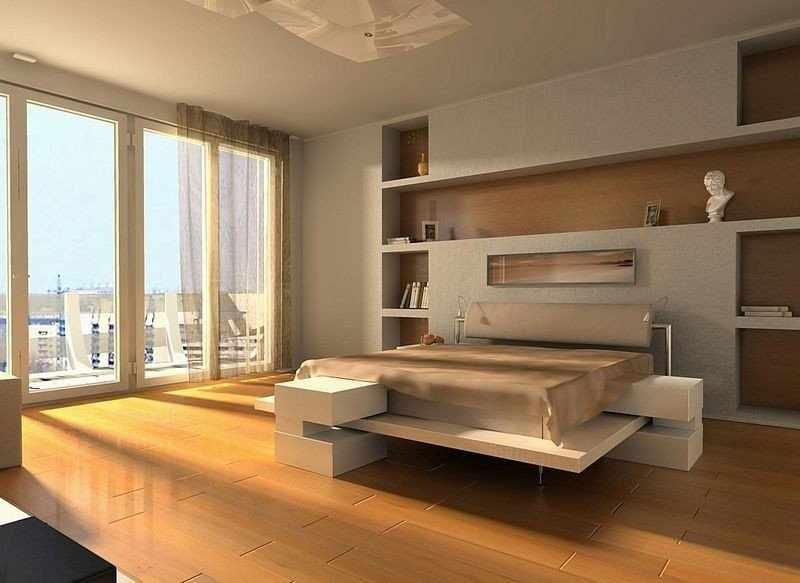 Светлые стены спальни в стиле модерн