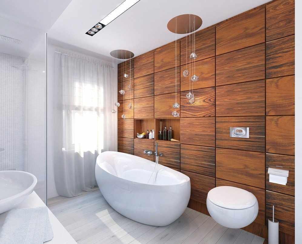 Панели из дерева в ванной