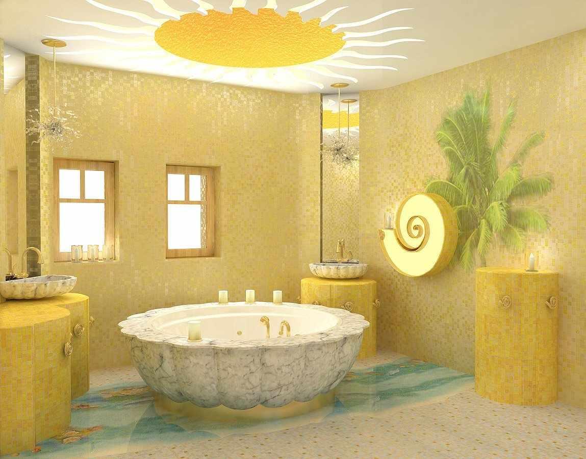 Желтая ванная с окнами