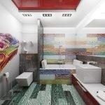 Применение нескольких цветов в дизайне ванной комнаты