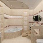 Бежевая угловая ванна