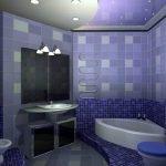 Сочетание фиолетового и синего в дизайне ванной